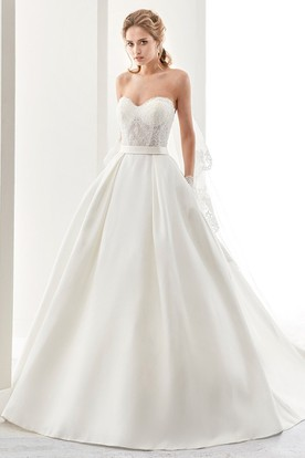 Sweetheart A-Line Satin Wedding Dress With Lace Bodice And Back Bow