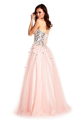 A-Line Sweetheart Long Sleeveless Sequined Tulle Prom Dress