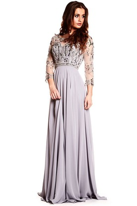 Maxi Long Sleeve Beaded Scoop Neck Chiffon Prom Dress With Illusion Back