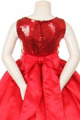 Tea-Length Bowed Sequins&Satin Flower Girl Dress