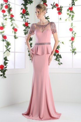 Sheath Long Scoop-Neck Short Sleeve Jersey Illusion Dress With Peplum And Beading