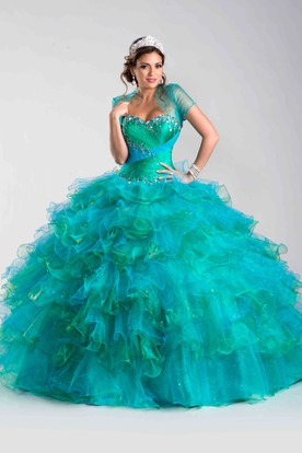 Ruched Corset Ball Gown With Cascading Ruffles And Crystal Detailing