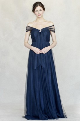 A-Line Off-The-Shoulder Broach Floor-Length Tulle Bridesmaid Dress With Pleats