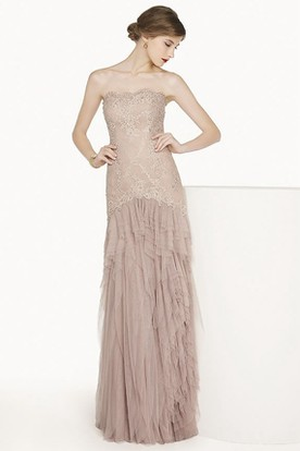 e6ff6c1cb0f Places To Get Prom Dresses In Bangor Maine. Scalloped Strapless Tulle Long  Prom Dress With Lace Top And Tiered Skirt