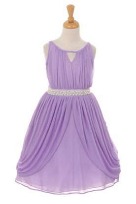 High Neck Tea-Length Tiered Pleated Chiffon Flower Girl Dress With Ribbon