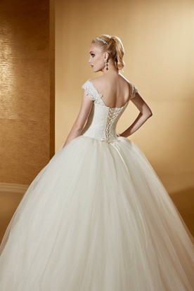 Classic V-Neck Ball Gown With Cap Sleeves And Lace-Up Back