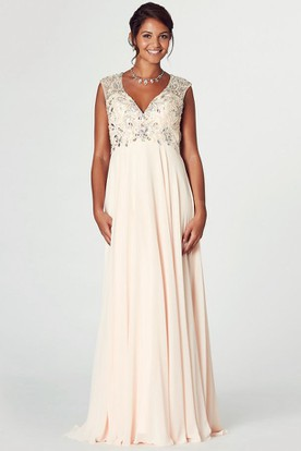 V-Neck Cap Sleeve Crystal Chiffon Prom Dress With Keyhole