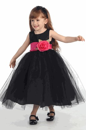 Tea-Length Tiered Tulle Flower Girl Dress