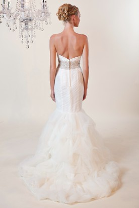 Mermaid Sweetheart Jeweled Tulle Wedding Dress With Criss Cross And Ruffles