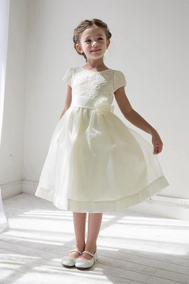 Tea-Length Tiered Floral Lace&Organza Flower Girl Dress With Sash
