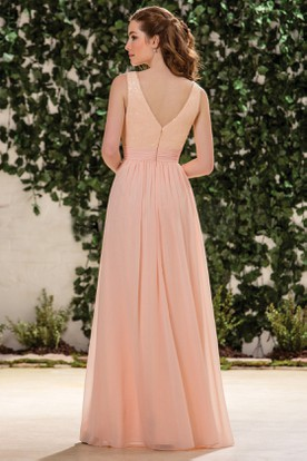 Sleeveless V-Neck A-Line Bridesmaid Dress With V-Back And Sequins