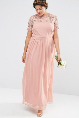 Ankle-Length Beaded Short Sleeve Scoop Neck Chiffon Bridesmaid Dress