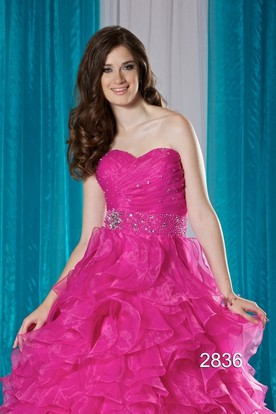 Ball Gown Long Sweetheart Sleeveless Organza Dress With Criss Cross And Ruffles