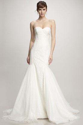 Trumpet Long Sweetheart Lace&Tulle Wedding Dress With Ruching And Brush Train