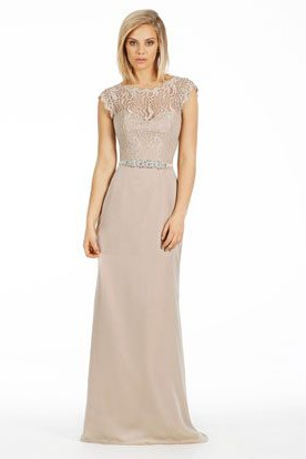 Sheath Bateau Neck Cap Sleeve Lace Chiffon Bridesmaid Dress