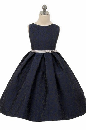 Tea-Length Tiered Pleated Satin Flower Girl Dress