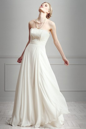 Sheath Lace Strapless Floor-Length Sleeveless Chiffon Wedding Dress