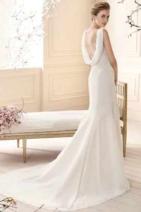 Sheath Cowl-Neck Floor-Length Appliqued Sleeveless Chiffon Wedding Dress