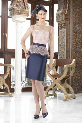 Pencil Short Lace 3-4 Sleeve Jewel Neck Satin Mother Of The Bride Dress
