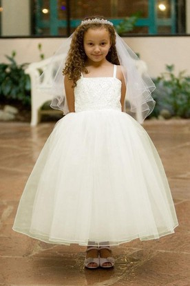 Spaghetti Tea-Length Tiered Criss-Cross Tulle&Lace Flower Girl Dress With Straps
