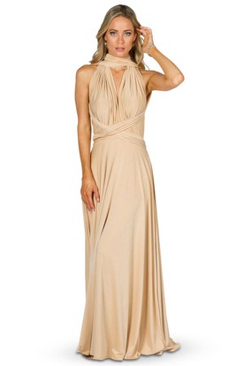 Bowed Strapped Sleeveless Jersey Convertible Bridesmaid Dress