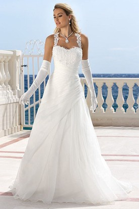 Halter Maxi Appliqued Tulle Wedding Dress With Draping And Keyhole