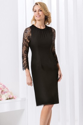 Pencil Scoop-Neck Long-Sleeve Knee-Length Lace Chiffon Mother Of The Bride Dress With Beading