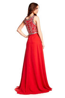 A-Line Scoop Sleeveless Beaded Floor-Length Chiffon Prom Dress With Zipper Back