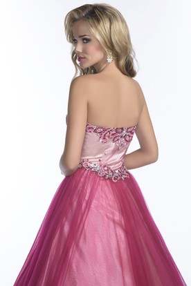A-Line Sweetheart Tulle Prom Dress With Jeweled Bodice And Pleats