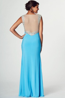 V-Neck Sleeveless Beaded Jersey Prom Dress