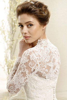 Ball Gown Long-Sleeve Sweetheart Lace Wedding Dress With Illusion