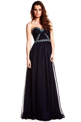 A-Line Sleeveless Beaded Sweetheart Floor-Length Chiffon Prom Dress With Backless Style