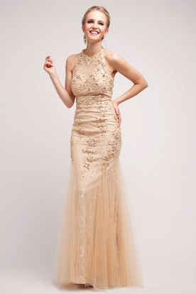 Sheath Long Jewel-Neck Sleeveless Lace Tulle Dress With Sequins And Appliques