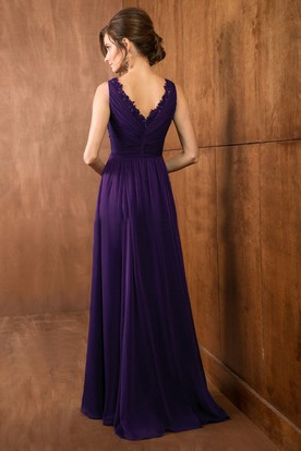 V-Neck Sleeveless A-Line Gown With Shawl And Beadings