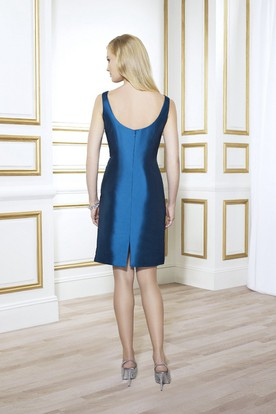 Pencil Mini Appliqued Scoop Neck Satin Mother Of The Bride Dress