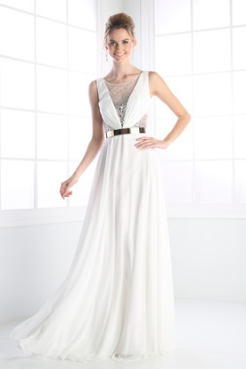 A-Line Scoop-Neck Sleeveless Chiffon Low-V Back Dress With Beading And Pleats