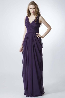 Sheath Sleeveless V-Neck Ruched Chiffon Bridesmaid Dress With Draping