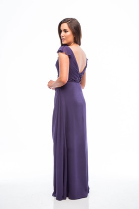 Ruched V-Neck Cap Sleeve Chiffon Bridesmaid Dress