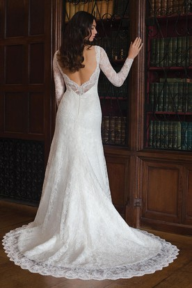 Sheath Maxi V-Neck Long-Sleeve Lace Wedding Dress With Deep-V Back