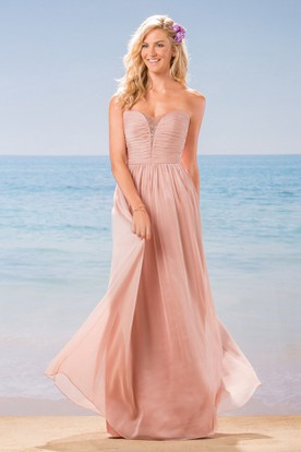 Strapless A-Line Long Chiffon Gown With Beadings And Ruches