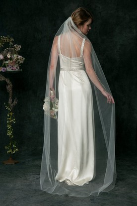 Sheath Strapped Beaded Long-Sleeveless Satin Wedding Dress With Waist Jewellery And Zipper