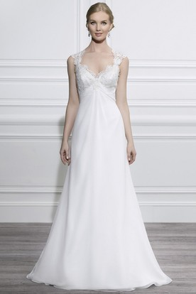 V-Neck Maxi Cap-Sleeve Appliqued Chiffon Wedding Dress With Court Train And V Back