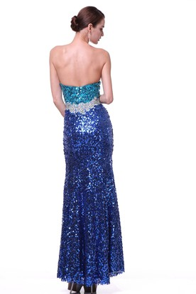 Sheath Long Notched Sleeveless Sequins Backless Dress With Split Front And Beading