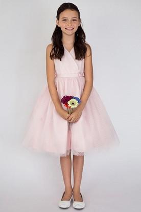 Tea-Length V-Neck Pleated Tiered Tulle&Satin Flower Girl Dress