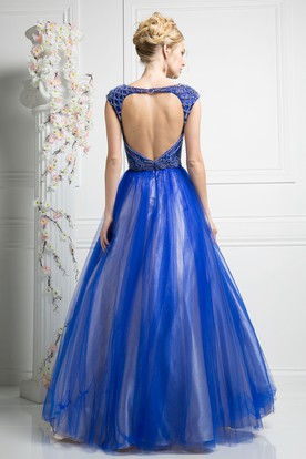 Ball Gown Bateau Cap-Sleeve Tulle Satin Keyhole Dress With Beading