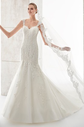 Square-Neck Court-Train Mermaid Wedding Dress With Illusive Lace Straps And Back