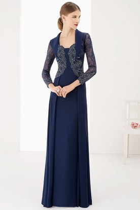 Long Sleeve A-Line Long Prom Dress With Lace Top And Collar