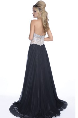Sweetheart A-Line Chiffon Gown With Rhinestone Bodice