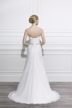 Sheath Jeweled Sweetheart Tulle Wedding Dress With Criss Cross And Lace Up