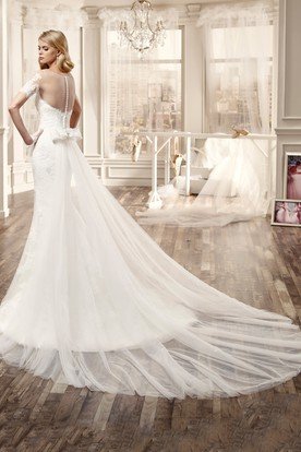 Side-Split Lace Long Wedding Dress With T-Shirt Sleeve Back Bow